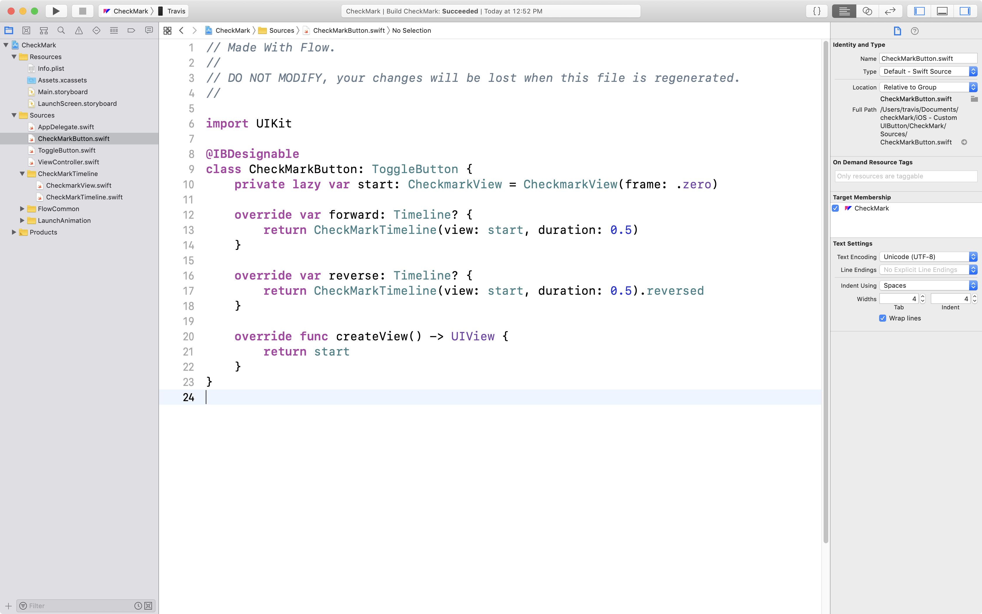 Flow Docs - Understanding the Xcode Project for Custom Buttons